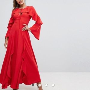 ISO red ASOS maxi dress.